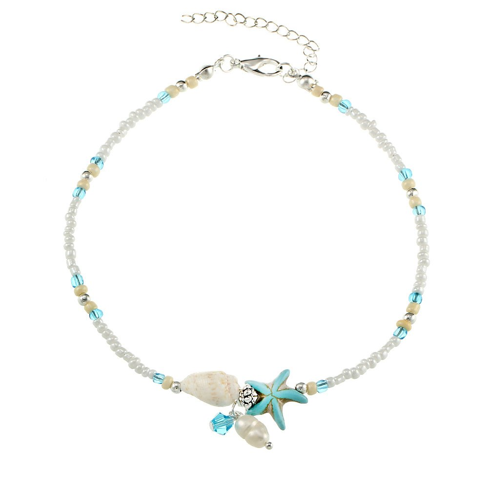 Anklets for Women Anklet White Mini Beads Blue Stone Starfish Glass Bead and Pearl Charms Chain Foot Beach Jewelry Charm Ankle Bracelets Women Jewelry MINGHUA