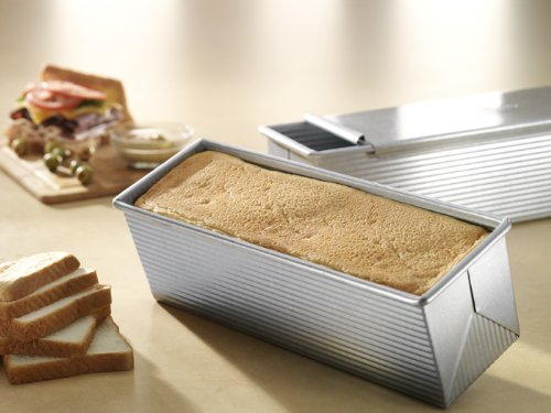 USA Pan Bakeware Pullman Loaf Pan with Cover, 13 x 4 inch, Nonstick & Quick Release Coating, Made in the USA from Aluminized Steel