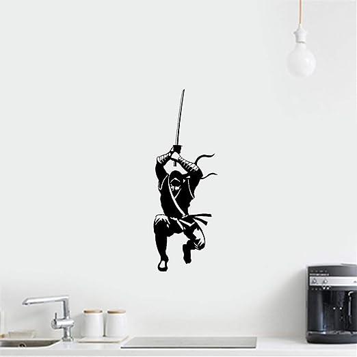 pegatina de pared 3d Ninja guerrero japonés Hitman: Amazon ...