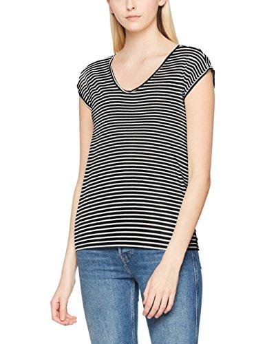 Multicolor Bright Tee Mujer Pcbillo Camiseta New Pieces Noos White Para black Stripes 40pqWvw