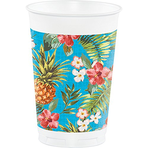 Creative Converting Printed Plastic Cups, 16 oz, Aloha (8-Count)