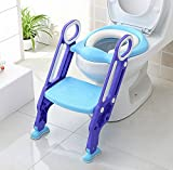 Portable Kids-Toddlers Toilet Potty Training Seat with Ladder,Sturdy-Comfortable-Safe, Adjustable Children's Toilet Seat Chair for Boys/Girls/Baby/Infant with Built in Anti-Slip Steps and Pads (Blue)