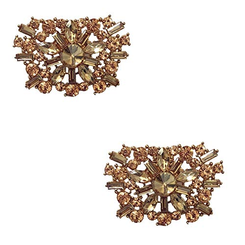 Douqu A Pair Vintage Style Bling Rhinestone Crystal Wedding Bridal Trapezoid Shoe Clips Jewelry (Gold)