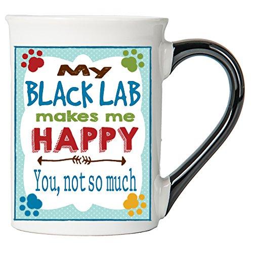 Cottage Creek Dog Mug Large 18 Ounce Ceramic My Black Lab Makes Me Happy Coffee Mug/Dog Gifts Lab Gifts [White] (Black My Lab)