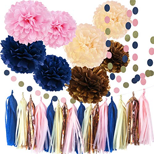 Qian's Party Navy Pink Bridal Shower Decorations Navy Pink Champagne Rose Gold Wedding Decorations/Navy Pink Bachelorette Party Decorations 30th/40th/50th Birthday Party -