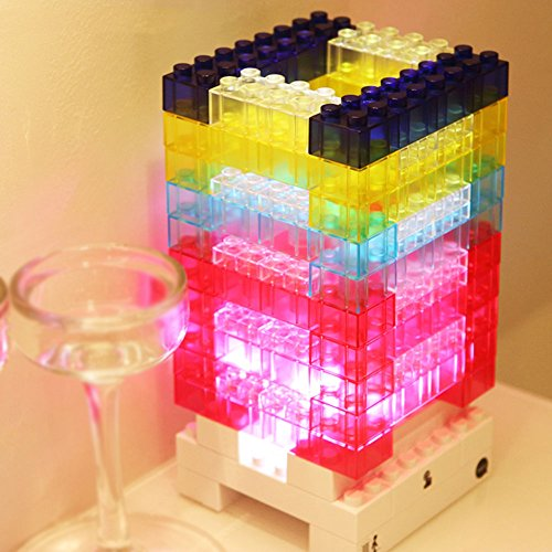 VIVISKY Creative DIY Toy Bricks Light Decorative Lighting Tetris light Building block Nightlight and a Amazing Puzzle Game ,3-level Dimmable Touch Switch LED Lamp ,Power by USB Or AA Battery (76PCS)