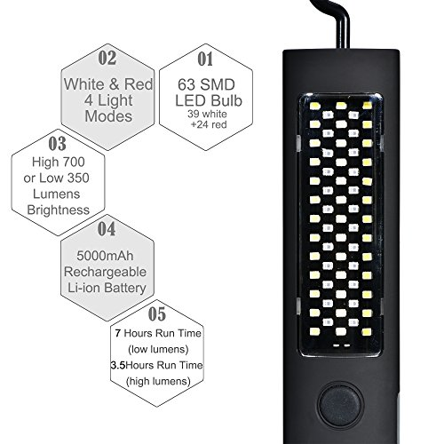 Led Work Light Magnet Lamp Torch Rechargeable Cordless: Cordless Led Work Light Rechargeable