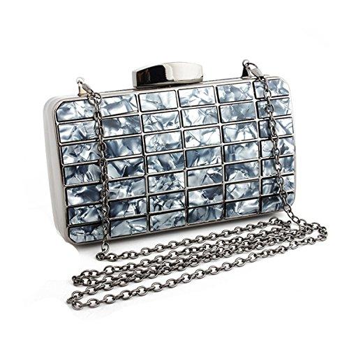 Handbag Black Girl's Patch bag Shoulder Marble Clutch Purse Evening Women's Flada cWvFwq0pn