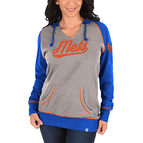 - New York Mets Majestic MLB Women's Absolute Confidence Pullover Hoodie - Gray/Royal (Medium)