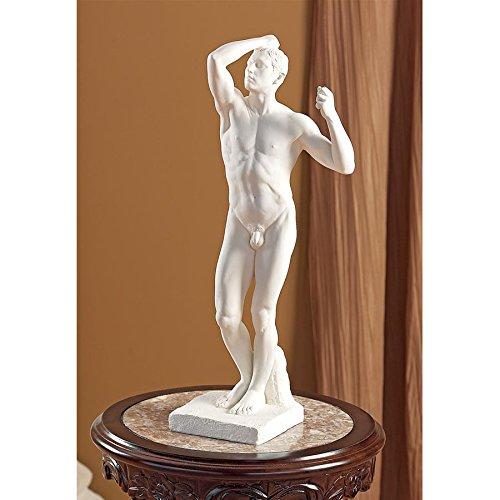Design Toscano The Bronze Age Nude Male Statue 1877 by Artist Auguste Rodin 1840-1917, White