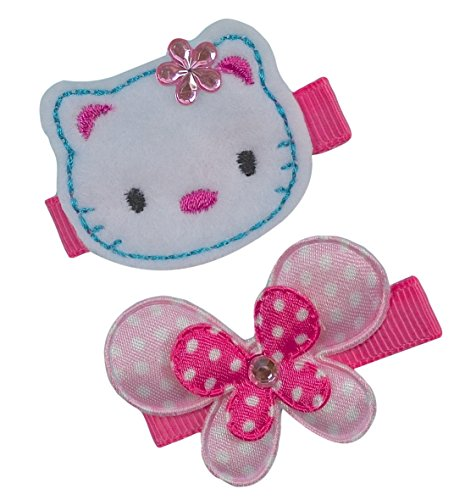 Embroidered Kitty (Girl's Hair Clip Set with Felt Embroidered Kitty)