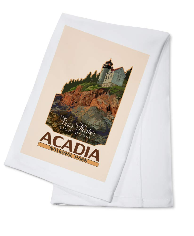 Acadia National Park, Maine - Bass Harbor Lighthouse - Contour 96092 (100% Cotton Kitchen Towel)
