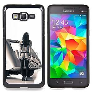 """Pin Up Race Mujer"""" - Metal de aluminio y de plástico duro Caja del teléfono - Negro - Samsung Galaxy Grand Prime G530F G530FZ G530Y G530H G530FZ/DS"""