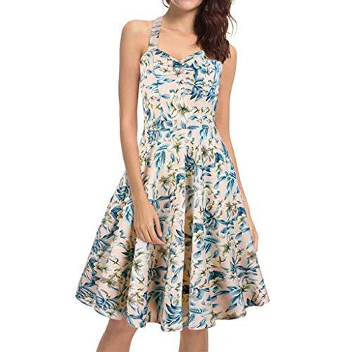 (Dress for Women Party Sexy Halter Neck Empire Waist Mini Dresses Boho Floral Swing Cocktail Dress Pleated Knee Length Dress White)