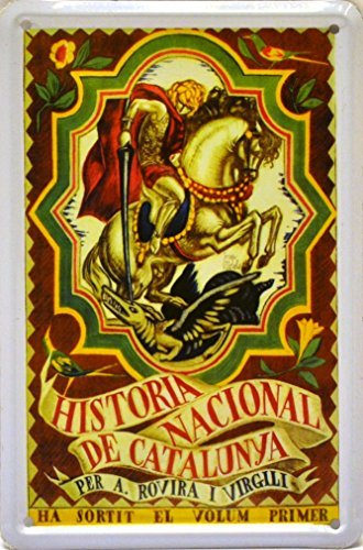 Magnet tin poster sign, with retro vintage design from Catalunya/Spain. Tin sign