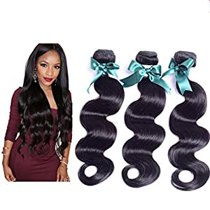 Danolsmann Hair 6A Unprocessed Virgin Hair 100 Human Hair Weave 3 Bundles/Lot,Malaysia Remy Hair More Wave Natural Hair Extension 300g(18inch 20inch 22inch)