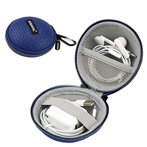 Iksnail Earbud Earphone Headphone Case with Carabiner Mini Storage Carrying Pouch Travel Organizer Bag for Wireless Bluetooth Headphone/MP3 Wired - Charger - USB Flash Drive - Cords/USB Cable (Blue) ()