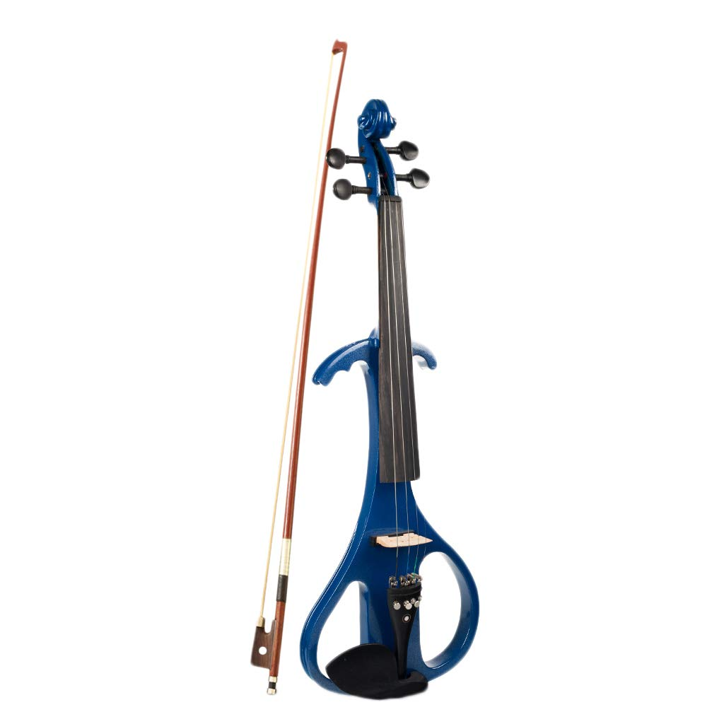 kesoto 4/4 Size Electric/Silent Violin Fiddle Ebony Fittings with Bow, Carrying Bag, Headphone, Cable, Rosin - Blue