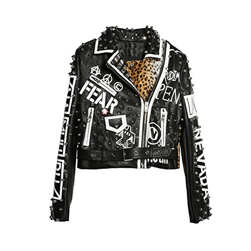 - Joddie Haha Punk Party Street Letter Printing Leather Jacket Black Rivet Beading Long Sleeve Motorcycle Leopard Rock Coat