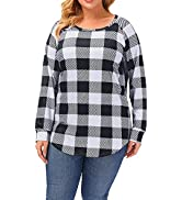 Uoohal Plus Size Tops for Women Long Sleeve Fall Casual Crewneck Shirts Plaid Checkered Soft T-Sh...