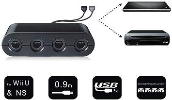 Excuty Gamecube Controller Adapter,Super Smash Bros GameCube NGC Controller  Adapter for Wii u,Nintendo Switch,PC USB,4 Port usb PC plug, No Driver