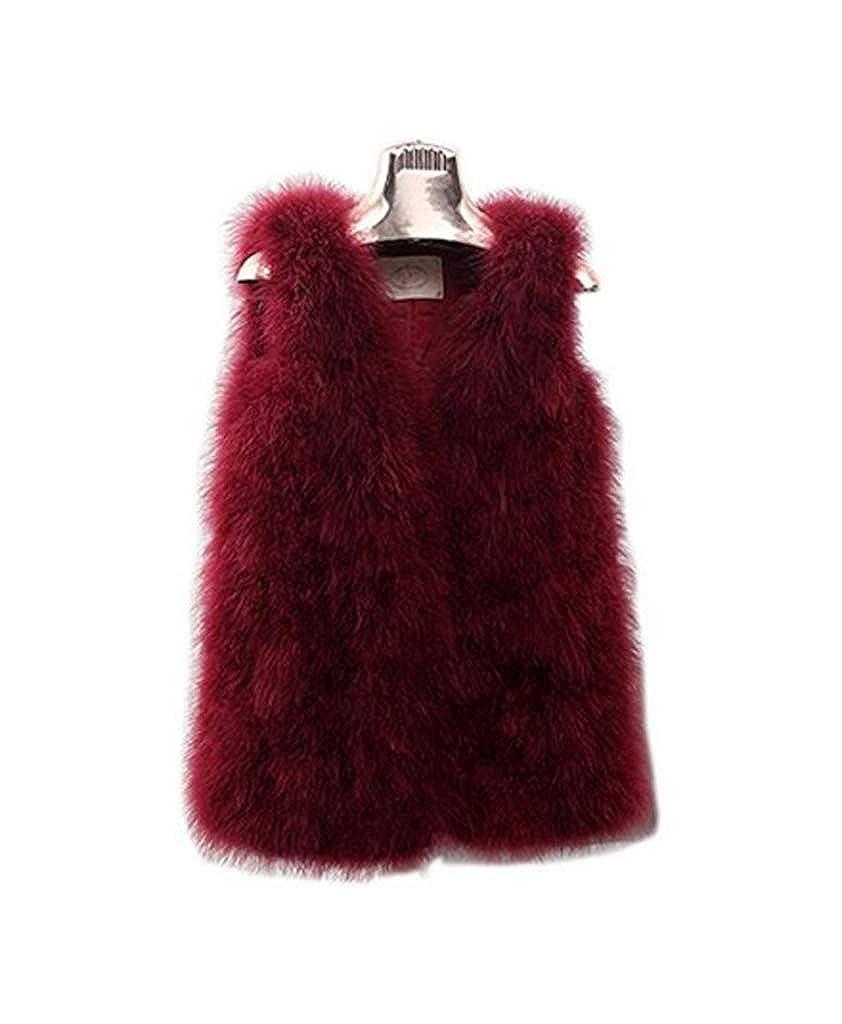 YR.Lover Women's 100% Ostrich Fur Vests Sleeveless Fur Coat Flash