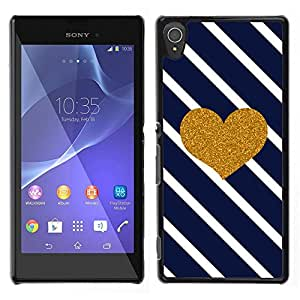A-type Arte & diseño plástico duro Fundas Cover Cubre Hard Case Cover para Sony Xperia T3 (Heart Lines Navy Blue Glitter Love Valentines)