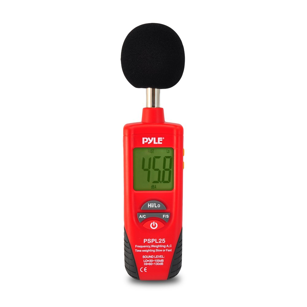 Pyle PSPL25 Digital Handheld Sound Level Meter with A and C Frequency Weighting for Musicians and Sound Audio Professionals