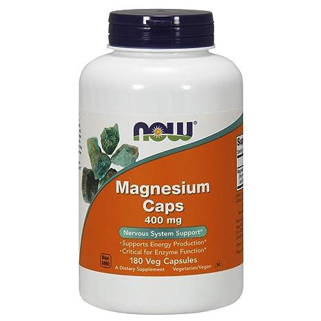 Now Foods | Cápsulas de Magnesio | 400 mg | 180 Cápsulas vegetarianas | sin gluten
