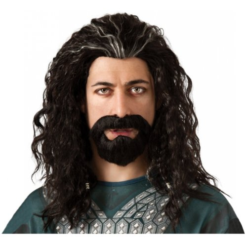 Rubie's Costume The Hobbit Thorin Hair Kit, Black/Grey Streak, One Size - Hobbit Dwarf Costume