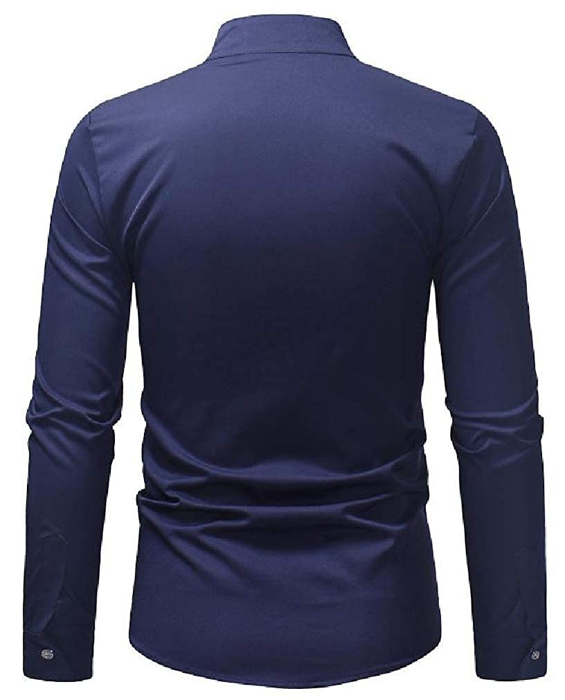 pipigo Men Print Stand Collar Casual Long Sleeve Button Down Shirts