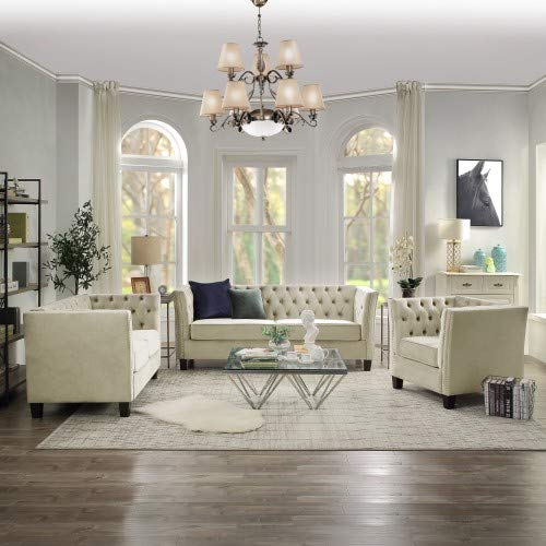 MOOSENG, 3 Piece Tufted Llving et with Nailheads, Modern Perfect for The Living Room Sofas, Beige (Tufted Sofa Set)