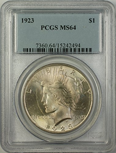 1923 Peace Silver Dollar Coin (ABR15-J) Light Toning Better Coin $1 MS-64 PCGS