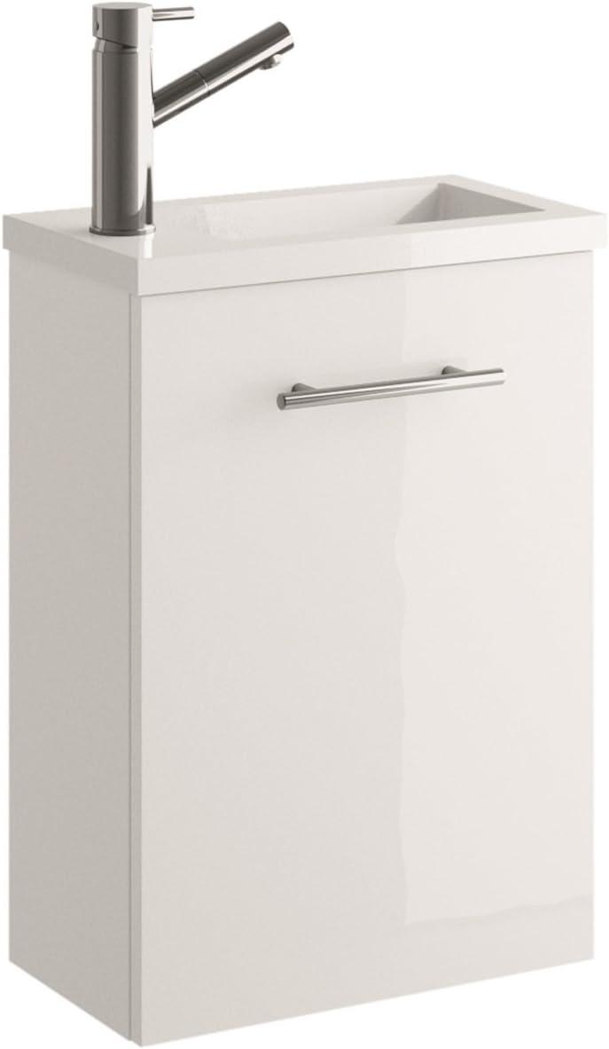 Cygnus Bath Mini Mueble lavamanos de baño, suspendido, con 1 Puerta de Cierre amortiguado, Madera, Brillo Lacado-Blanco, 40x22x54 cm