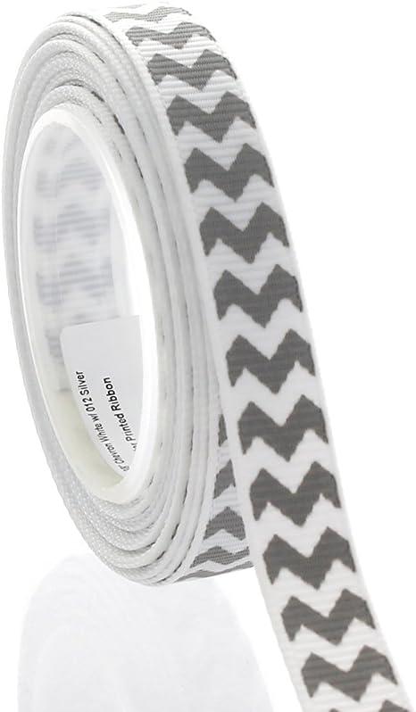 "5 yards Pink /& gray chevron zig zag printed 7//8/"" grosgrain ribbon by the yard"