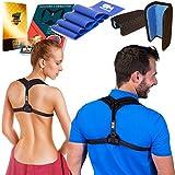 Posture Corrector Clavicle Support Brace for Women & Men + Resistance Band for Fix Upper Back Pain – Adjustable Posture Brace for Improve Bad Posture | Thoracic Kyphosis Brace