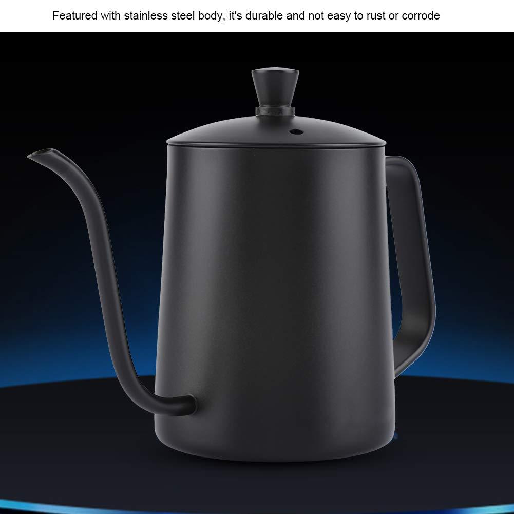 caldera de caf/é de cuello de cisne largo de acero inoxidable de 550 ml Caldera con tapa para la cocina casera Cafeter/ía Hervidor de caf/é