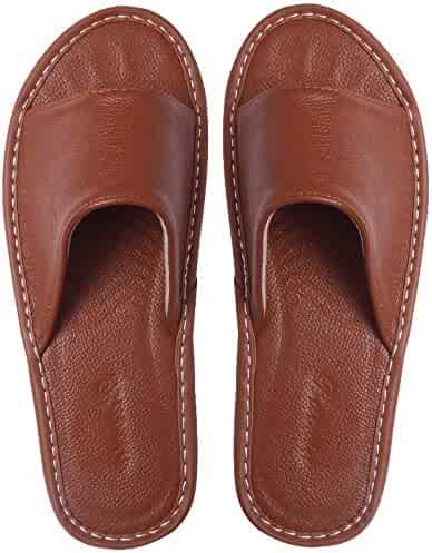 f16b7a9d9 Cattior Mens Comfy Leather Slippers Indoor Outdoor Slippers House Shoes