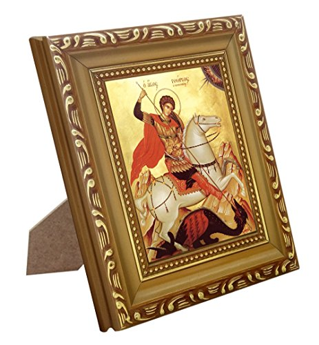 FengMicon Saint George Icon Art Print Greek Orthodox Church Catholic Religious Icon Framed - Greek Religious Art