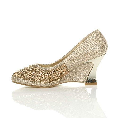 Arrondie Semelles Chaussures Or Escarpins Moyen Haute Compensées À Talon Femmes wgqa5pw