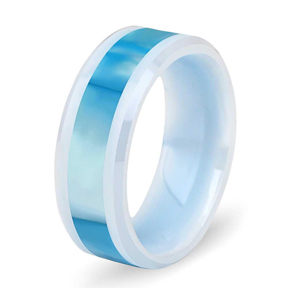 8mm Width Womens Mens Engagement Wedding Band White Ceramic Ring with Light Blue Shell Inlay(10)