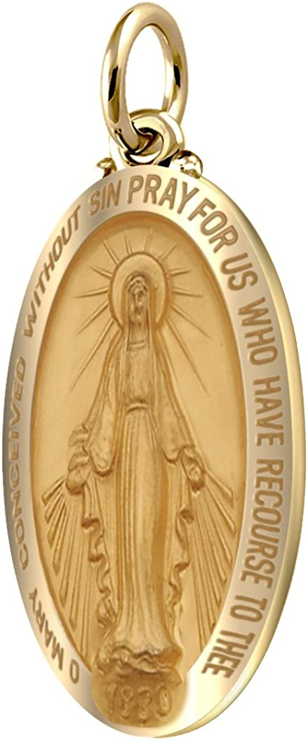 18in to 24in US Jewels And Gems 925 Sterling Silver 1.25in Miraculous Virgin Mary Antique Finish Pendant Necklace