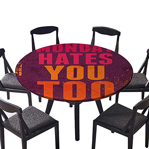 """Round Tablecloth Vintage Design with Monday Hates You Too Inspiring Quote Art Print Purple and for Wedding Restaurant Party 50""""-55"""" Round (Elastic Edge)"""