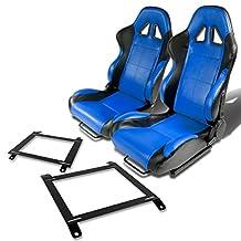 Pair of RST5BKBL Racing Seats+Mounting Bracket for Mazda Miata w/Bucket Seat