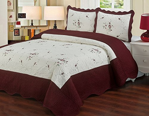 Laura's Lace Chelsea 3 Piece Embroidered Microfiber Quilt Coverlet Set with 100% Cotton Filling - 4 Colors (Full/Queen, Burgundy) (Chelsea Quilt)