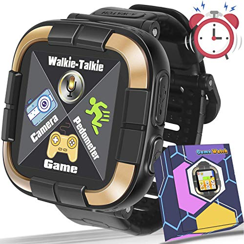 1.5 Touch Kids Game Smart Watch [Walkie Talkie Edition] for Ages 3-12 Boys Girls Toddlers Digital Wrist Watch with Camera Pedometer Alarm Kids Electronic Learning Toy Birthday Gift-Black