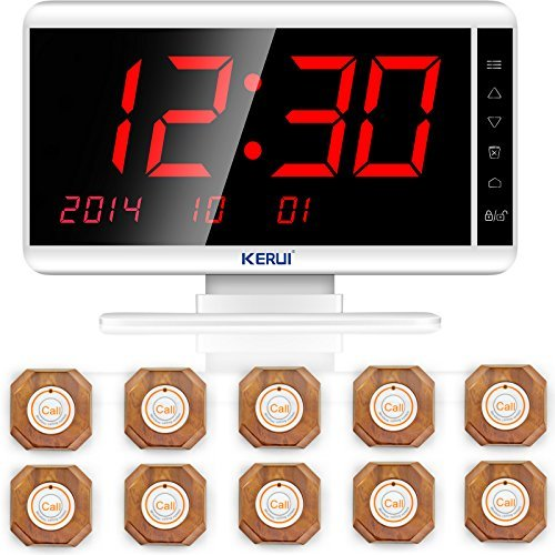 (Restaurant Paging System,KERUI Wireless Waiter Server Paging Calling System for Restaurant,Caregiver,Office,Patient,Coffee shop-Pack of 10 pcs Service Buzzers and 1 pc Signal Receiver of KR-C1999)