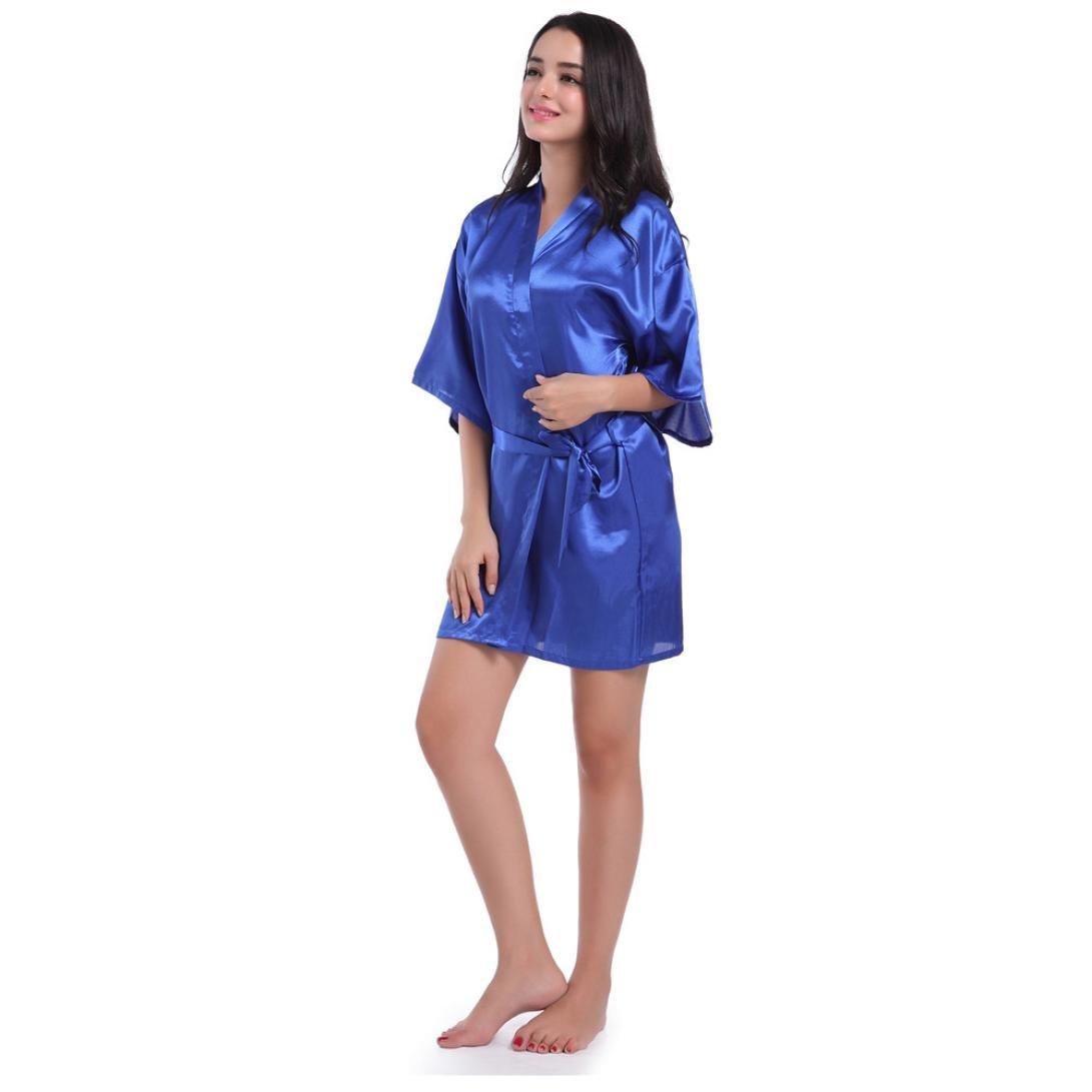 Bata para Mujer,Venmo Mangas Medias de la Mujer de Manga Corta Kimono Corto Traje de Seda Ropa de Dormir para la Boda Novia Fiesta: Amazon.es: Ropa y ...