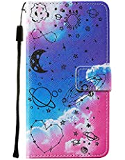 Miagon Wrist Strap Wallet Case for Samsung Galaxy A52,Creative Universe Heart Design Pu Leather Magnetic Closure Soft Inner Bookstyle Flip Case Cover with Stand Function