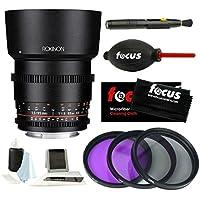 Rokinon 85mm T1.5 Full Frame Cine DS Lens for M4/3 Cameras + Accessory Bundle